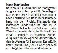Verein für Baukultur und Stadtgestaltung Kaiserslautern e. V. - Rheinpfalz Majolika