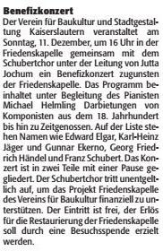 Verein für Baukultur und Stadtgestaltung Kaiserslautern e. V. - Benefizkonzert Friedenskapelle