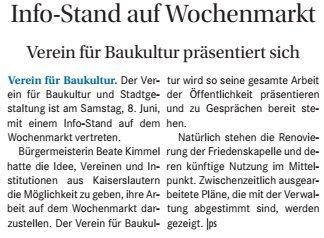 Verein für Baukultur und Stadtgestaltung Kaiserslautern e. V. - Infostand