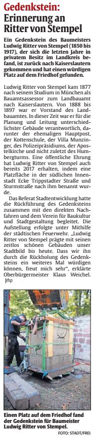 Verein für Baukultur und Stadtgestaltung Kaiserslautern e. V. - Ritter von Stempel