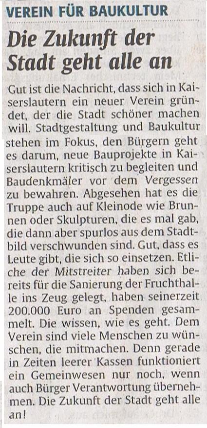 Verein für Baukultur und Stadtgestaltung Kaiserslautern e. V. - Neuer Verein