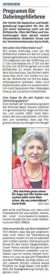 Verein für Baukultur und Stadtgestaltung Kaiserslautern e. V. - Kultursommerfest_Interview mit Karin Kolb