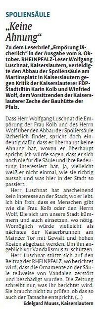 Verein für Baukultur und Stadtgestaltung Kaiserslautern e. V. - Rheinpfalz Leserbrief - Spoliensäule - Muuss