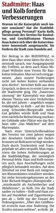Verein für Baukultur und Stadtgestaltung Kaiserslautern e. V. - Innenstadt