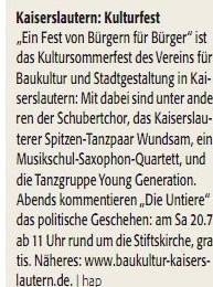 Verein für Baukultur und Stadtgestaltung Kaiserslautern e. V. - Kultursommerfest 2013 - LEO_Ankündigung