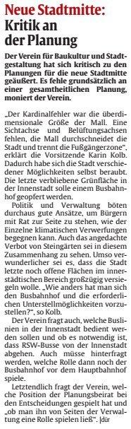 Verein für Baukultur und Stadtgestaltung Kaiserslautern e. V. - Neue Stadtmitte
