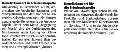 Verein für Baukultur und Stadtgestaltung Kaiserslautern e. V. - Friedenskapelle - Benefizkonzert