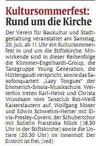 Verein für Baukultur und Stadtgestaltung Kaiserslautern e. V. - Kultursommerfest 2013 - Marktplatz Kaiserslautern_Ankündigung