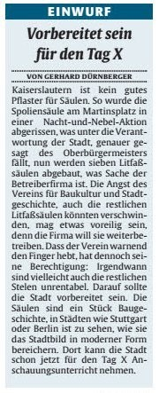 Verein für Baukultur und Stadtgestaltung Kaiserslautern e. V. - Spoliensäule_Litfaßsäulen