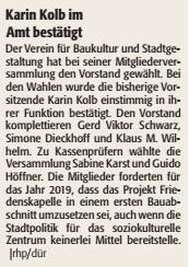 Verein für Baukultur und Stadtgestaltung Kaiserslautern e. V. - Neuwahlen und Friedenskapelle