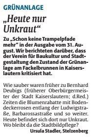 Verein frü Baukultur und Stadtgestaltung Kaiserslautern e. V. - Verschmutzung