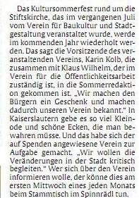 Verein für Baukultur und Stadtgestaltung Kaiserslautern e. V. - Rheinpfalz Sommerredaktion Vereinsstammtisch_Text