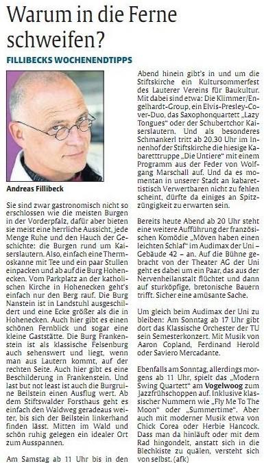 Verein für Baukultur und Stadtgestaltung Kaiserslautern e. V. - Kultursommerfest 2013_Rheinpfalz_Kulturtipp