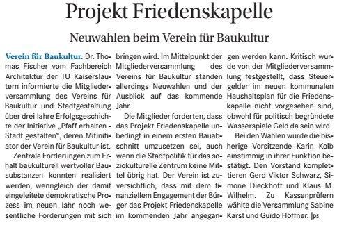 Verein für Baukultur und Stadtgestaltung Kaiserslautern e. V. - Neuwahlen