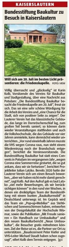 Verein für Baukultur und Stadtgestaltung Kaiserslautern e. V. - Friedenskapelle