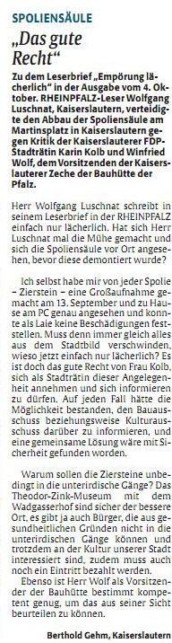 Verein für Baukultur und Stadtgestaltung Kaiserslautern e. V. -Spoliensäule