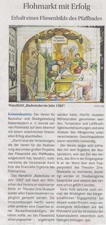 Verein für Baukultur und Stadtgestaltung Kaiserslautern e. V. - Wochenblatt - Flohmarkt -Fliesenbild