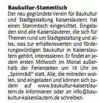 Verein für Baukultur und Stadtgestaltung Kaiserslautern e. V. - Rheinpfalz Stammtisch