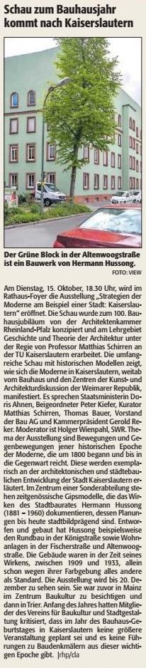 Verein für Baukultur und Stadtgestaltung Kaiserslautern - Bauhaus