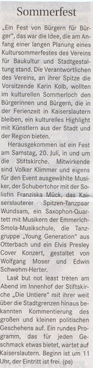 Verein für Baukultur und Stadtgestaltung Kaiserslautern e. V. - Kultursommerfest 2013 - Wochenblatt_Ankündigung