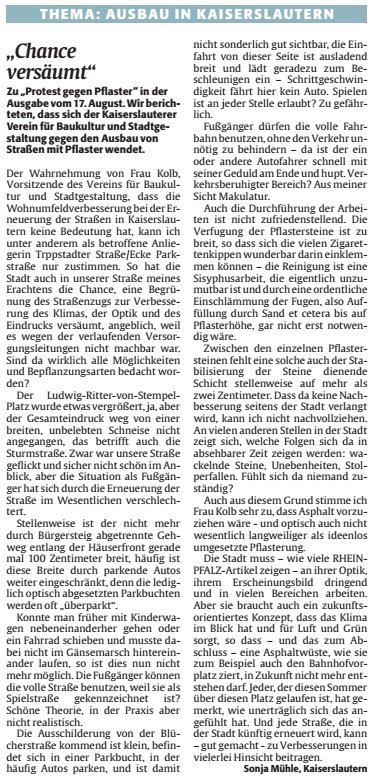 Verein für Baukultur und Stadtgestaltung Kaiserslautern e. V. - Straßen