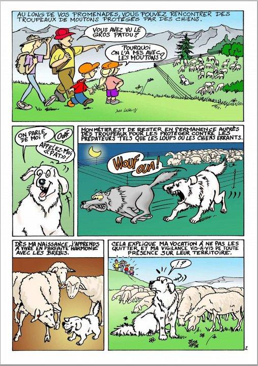 ec chiens partage la bd qui explique que lors de randonnées on peut croiser des troupeaux avec un chien