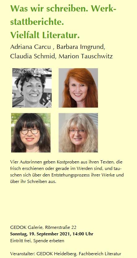 Literarisches Quartett in der GEDOK Galerie am 19.9.2021