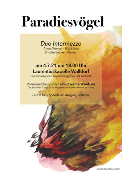 14.7. Paradiesvögel Konzert mit dem Duo Intermezzo: Almut Werner - Blockflöten und Brigitte Becker – Klavier