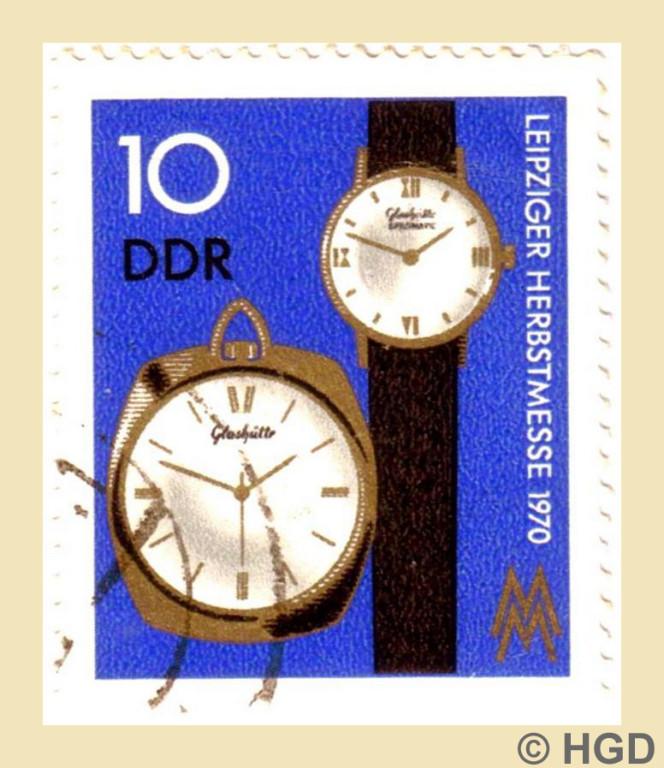 1970 Herausgegebene Sonderbriefmarke mit Spezimatic Kaliber 74 und Kleintaschenuhr Kaliber 78