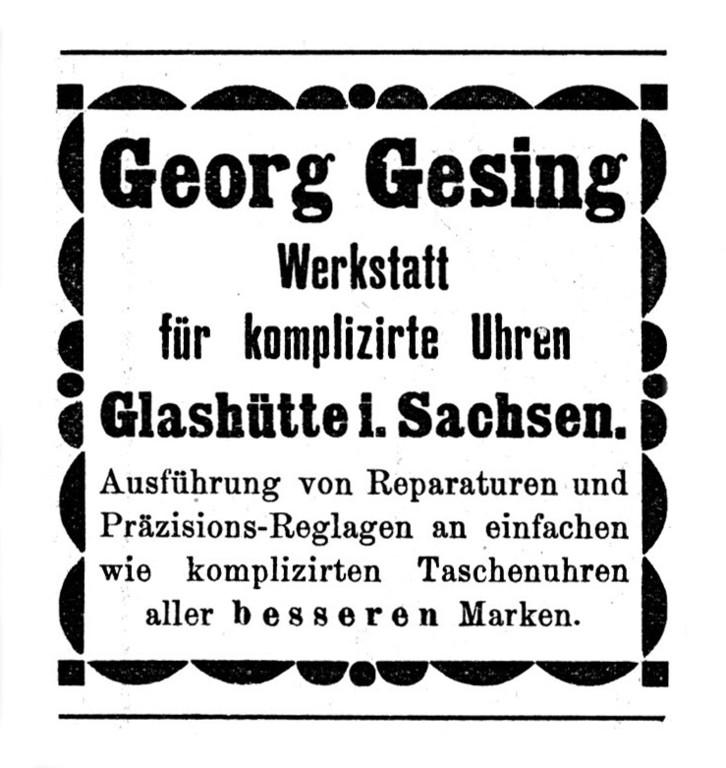 Werbung 1902 in der Deutschen Uhrmacher-Zeitung Nr.24