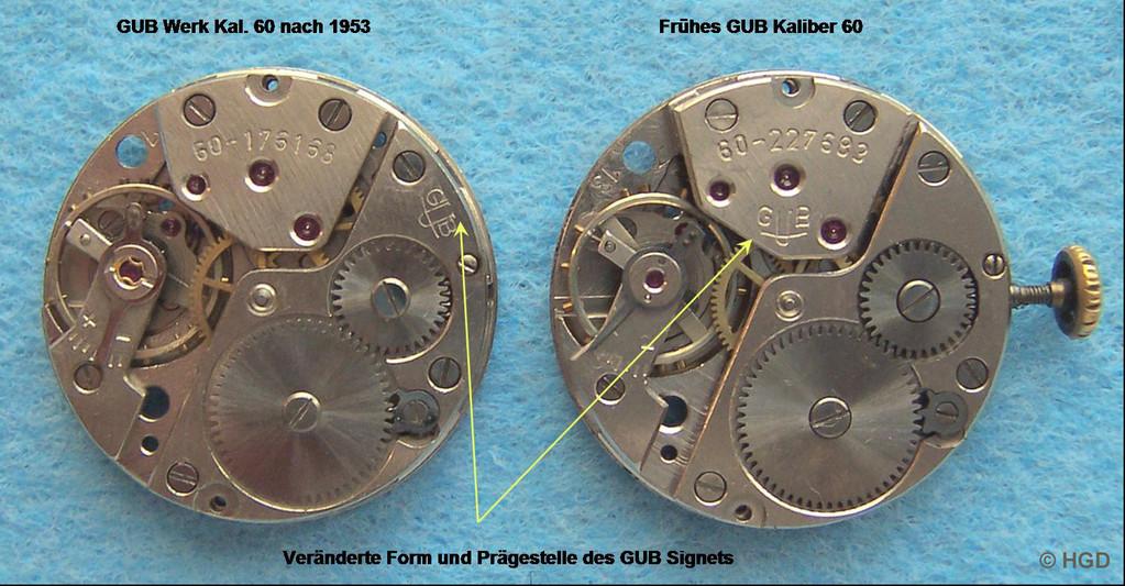 Werkseitiger Vergleich mit einer späteren Werkausführung des Kal. 60