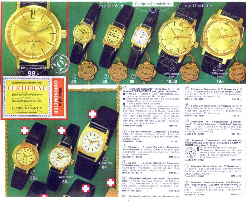 Das Spitzenprodukt bei Armbanduhren, der zertfizierte Chronometer Kal.70.3 und weitere Modelle beim Quelle Versandhaus Nürnberg