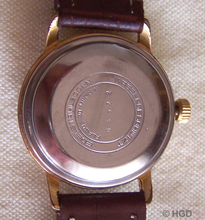 GUB Kaliber 68.1,  20 Micron Plaque Gehäuse des Uhrenwerkes Weimar