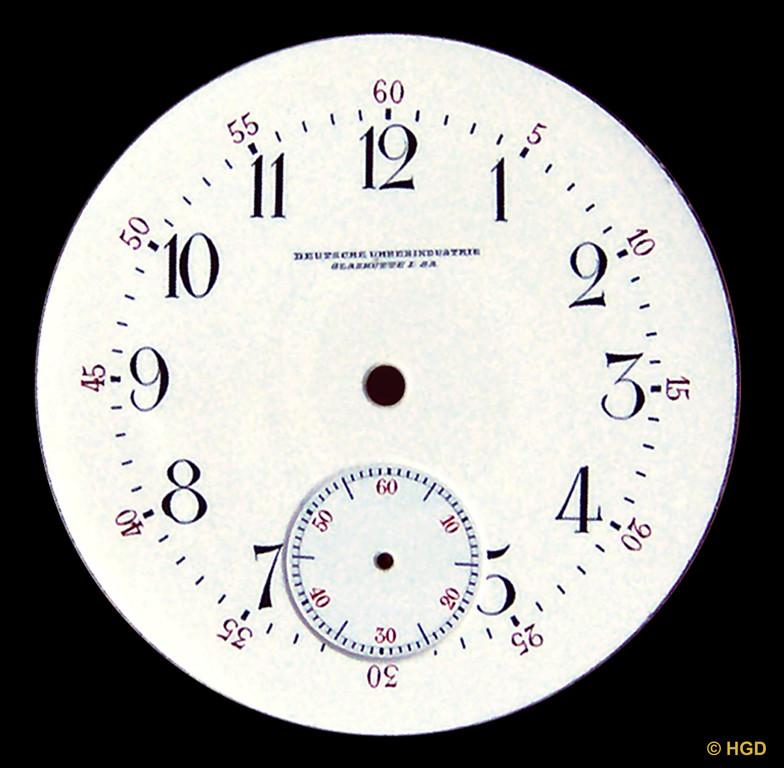 Zweiteiliges Emaillezifferblatt mit 24 Stunden Anzeige in arabischen & römischen Zahlen