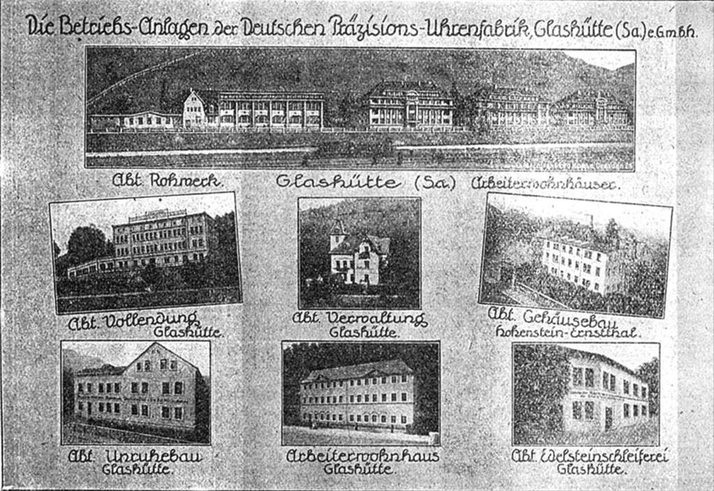 Die Gebäude der Deutschen Präzisions-Uhrenfabrik e.GmbH Glashütte 1921