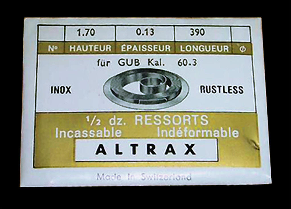 Schweizer Import Aufzugsfedern für Kaliber 60.3