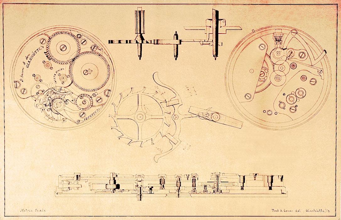 Originalen Zeichnung des Werkes von Fred Gruen