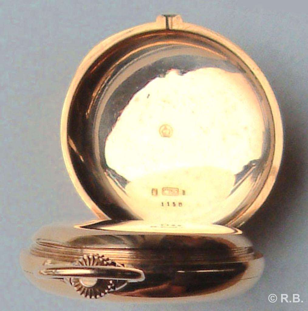 Gehäusenummer 1158, deutscher und schweizer 18 ct. Goldstempel,  Gehäusegewicht 74 Gramm