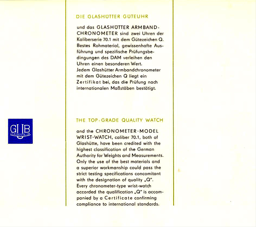 Prospekt GUB Chronometer Kal. 70.1 - dankenswerter Weise  zur Verfügung gestellt von A.H.