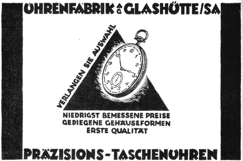 UFAG Werbung 1928 in der Deutschen Uhrmacher-Zeitung