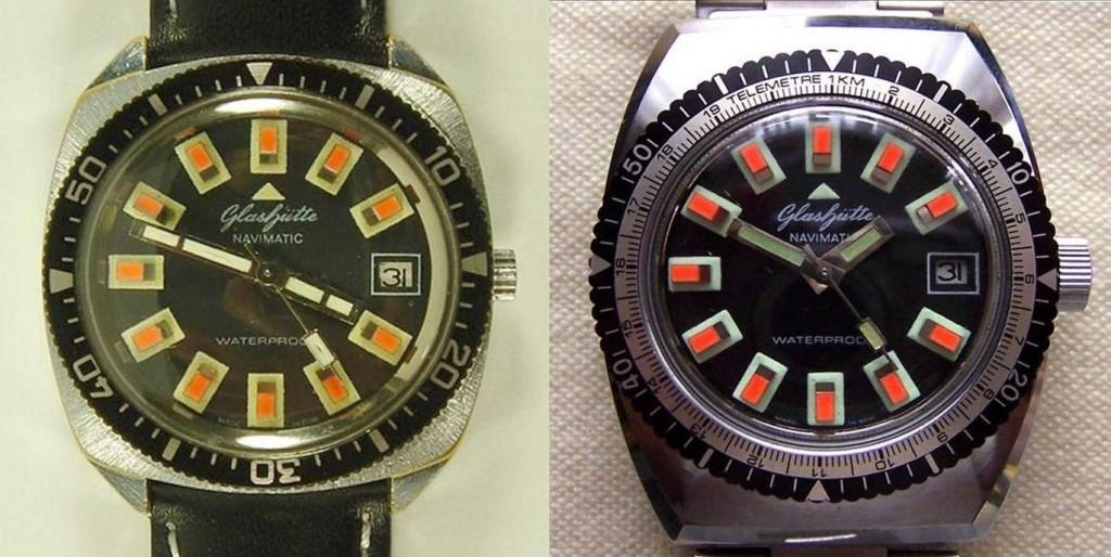 """Rechts das Original einer GUB """"Navimatic"""". Bei der linken Uhr ist nur das Zifferblatt von einer Navimatic."""