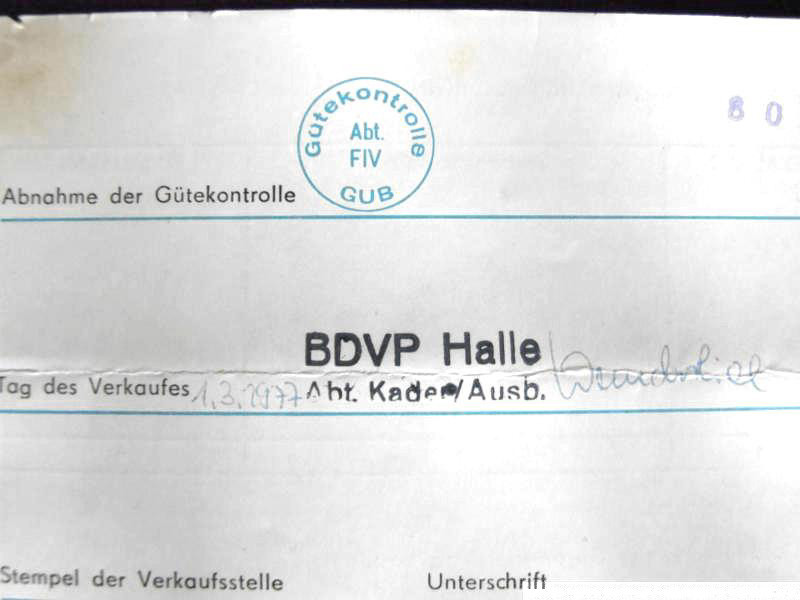 Beleg der Bezirksdirektion der Deutschen Volkspolizei (BDVP) als auszeichnende Dienststelle