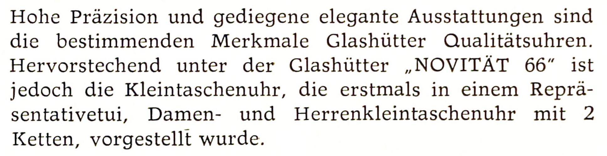 Quelle: Fachzeitschrift Uhren & Schmuck Nr.3/1966 S. 107