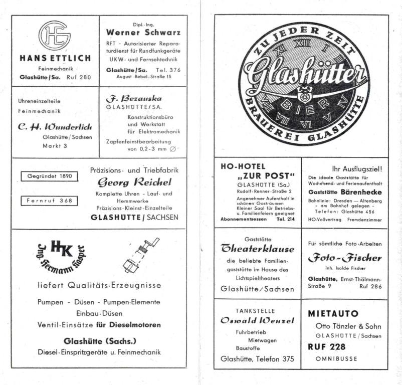 Industriewerbung Glashütte 1955  3. Seite