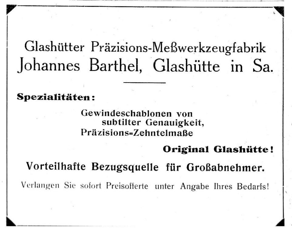 Werbung in Saxoniabericht Nr.22 1922