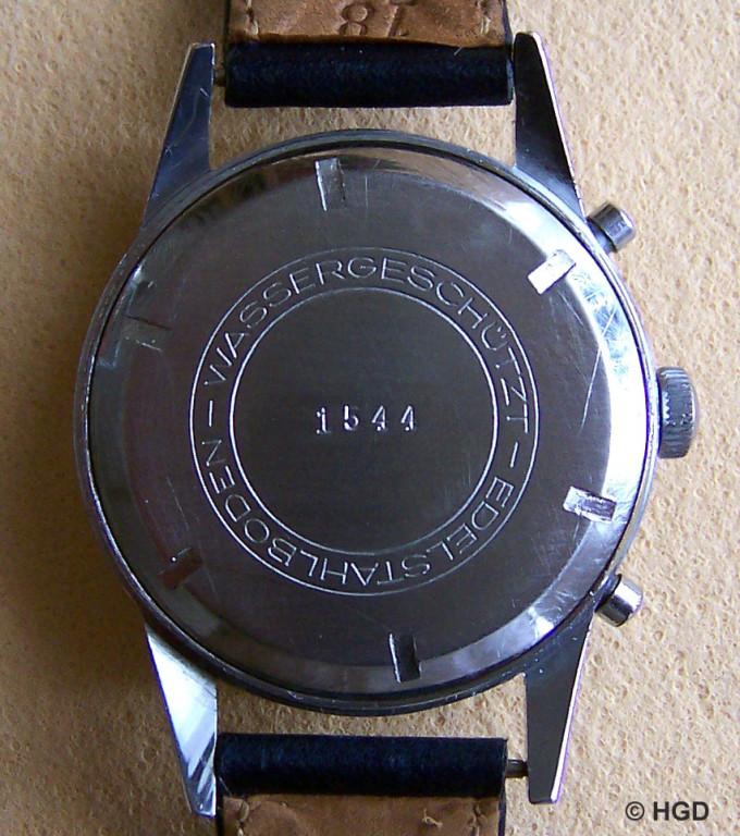 Verchromtes Messinggehäuse, Import Frankreich für GUB Schaltradchronograph Kaliber 64