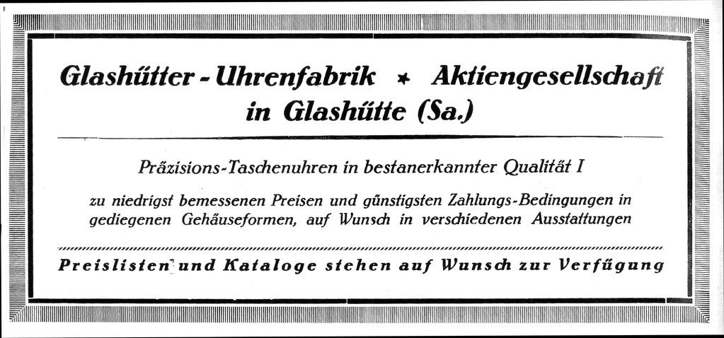 """Erste Werbung der neuen Glashütter Firma im Dezember 1926 im Fachorgan """"Die Uhrmacher-Woche"""""""