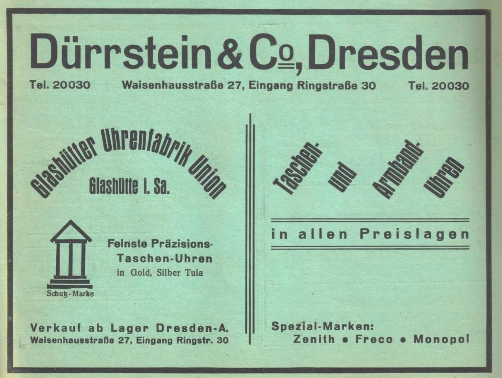 """Eine der letzten Werbungen von Dürrstein & der Glashütter Uhrenfabrik Union in der Fachzeitschrift """"Die Uhrmacher Woche"""" im Juni 1931"""