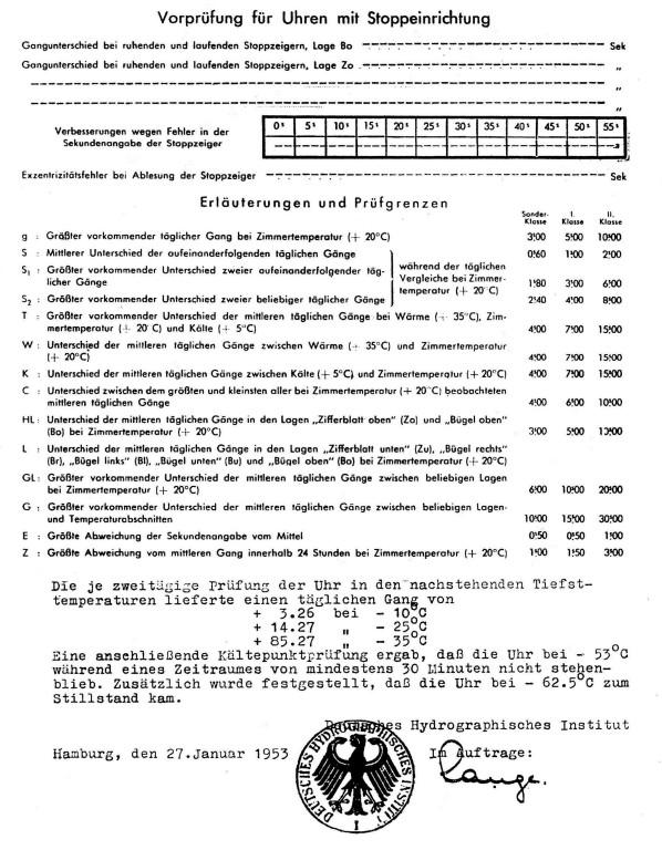 Prüfschein für Präzisions-Taschenuhren vom 27.01.1953 S. 2