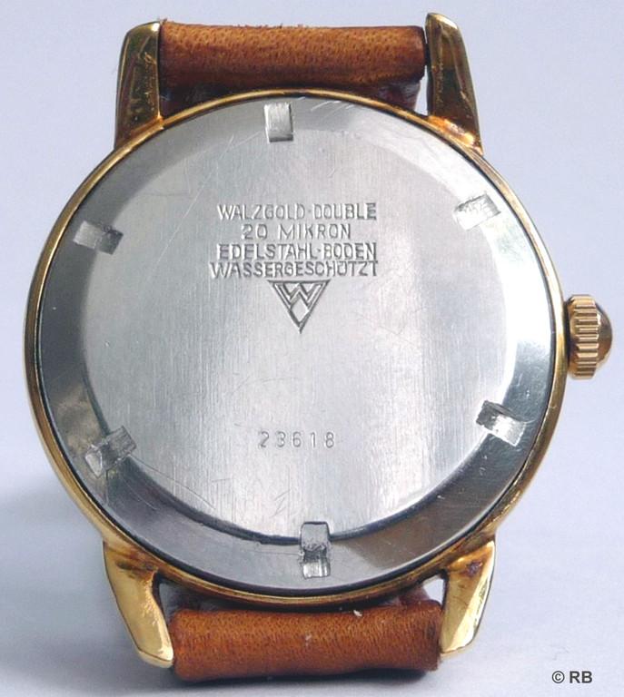 GUB Kaliber 28 Gehäuse- 20 Micron Walzgolddouble mit Edelstahlschraubdeckel der Firma Wagner Pforzheim